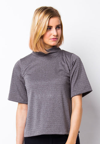 BLP-PD006/BLOUSE-R-ZOEY-BTN-GREY-F