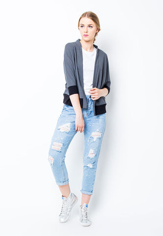 BLP-PE066/CARDIGAN-R-PIERCE-LIST-DIMGREY-F