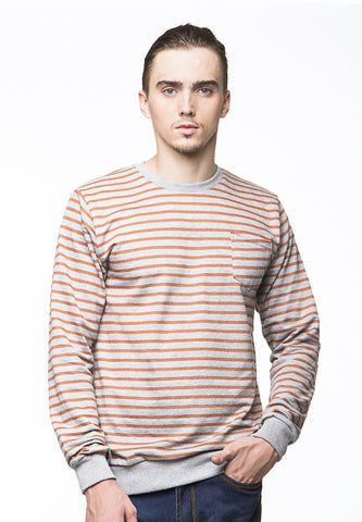 BLP-PI010/SWEATER-I-ATLAS-STRIPE-ORANGEGREY-M