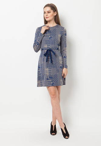 BLP-QA008/DRESS-R-EBELE-MOTIF-TL-BLUE-F