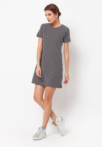 BLP-QB001/DRESS-R-ALICE-STRIPE-BLACKWHITE-F
