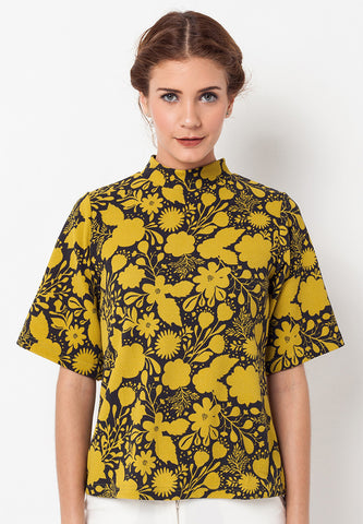 BLP-QB005/BLOUSE-R-DAISY-FLOWERS-BLACK-F