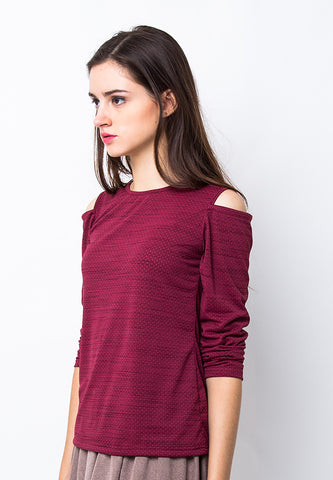 END-PA017/BLOUSE-R-OLIVIA-CUT-MAROON-F