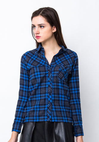 END-PA059/SHIRT-LS-BN-SQUARELINE-BLACKBLUE-F