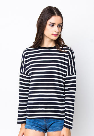 END-PC003/BLOUSE-R-AMELIA-STRIPE-DBLUE-WHITE-F