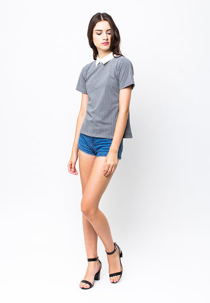 END-PC005/BLOUSE-R-GALLY-BTN-GREY-F