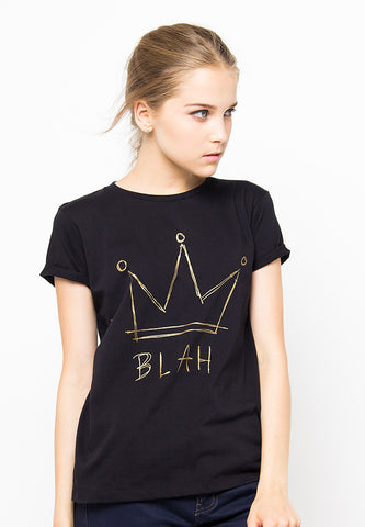 END-PF016/TSHIRT-H-CROWNBLAH-BLACK-F