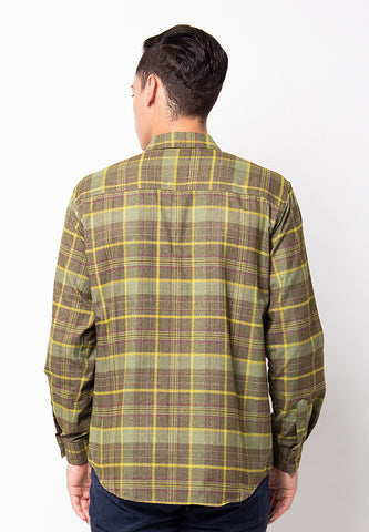 END-PF058/SHIRT-LS-R-SQUARELINE-YELLOWGREEN-M