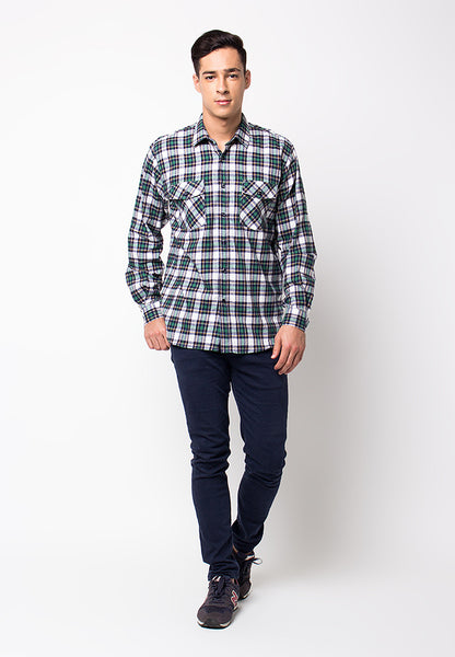 END-PF082/SHIRT-LS-R-SQUARELINE-WHITEGREEN-M