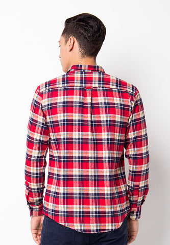 END-PF093/SHIRT-LS-BN-SQUARELINE-WHITERED-M