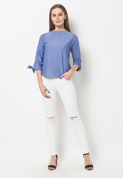 END-QA010/BLOUSE-BN-KINSEY-CHAMB-BLUE-F