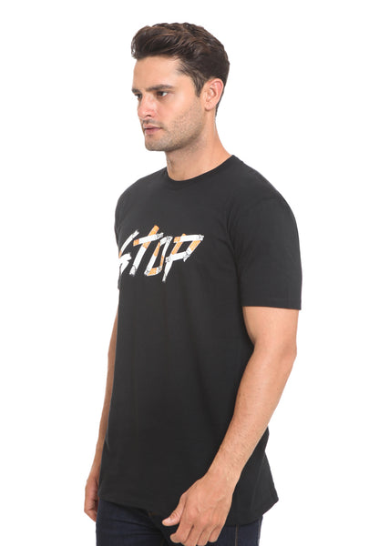 END-RI007/TSHIRT H STOP CIGARETS BLACK M