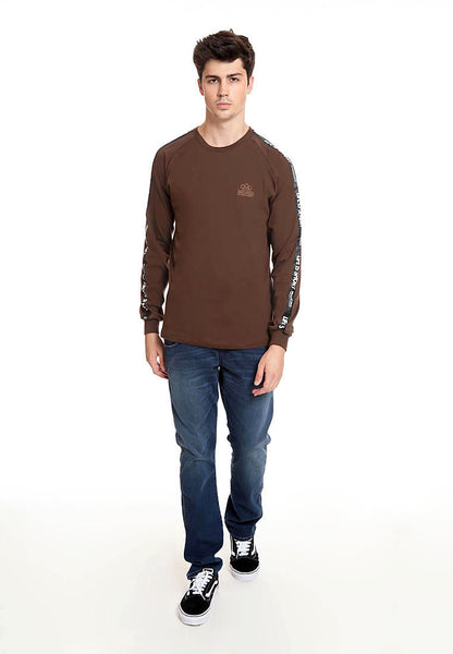 END-RK021/TSHIRT LS H LIFE IS SHORT BROWN M
