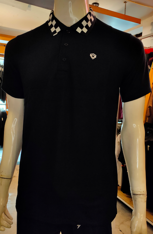 TENDENCIES 19FTND M0202003 CHECKER BAND POLO BLACK