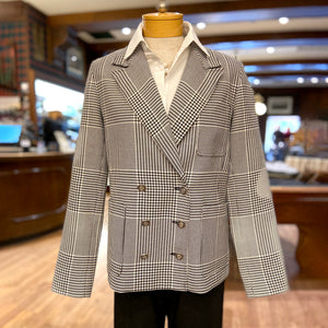 Double-Breasted Glen Plaid Blazer