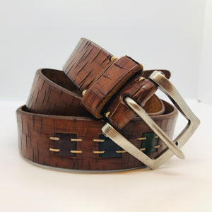 Artisan Inlay Cross Cut Bridle Leather Belt