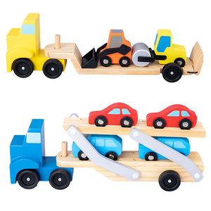 Wooden Transporter Truck Toy Cars