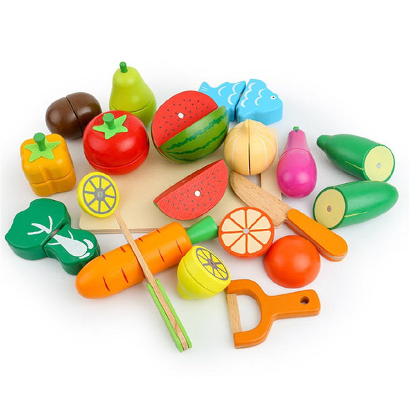 Wooden Vegetables Fruits Play Kitchen Education Toy