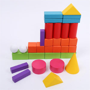 Wooden Geometry Model Building Blocks Toy
