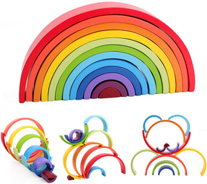 Wooden Rainbow Stacking Block Toy