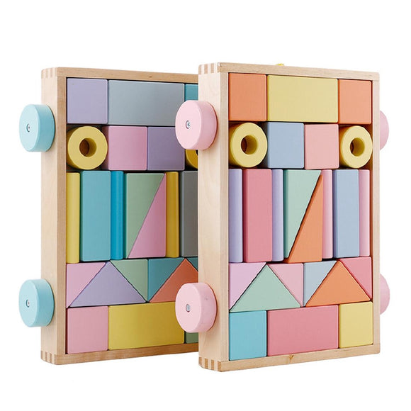 Wooden Macaron Color Trailer Building Blocks