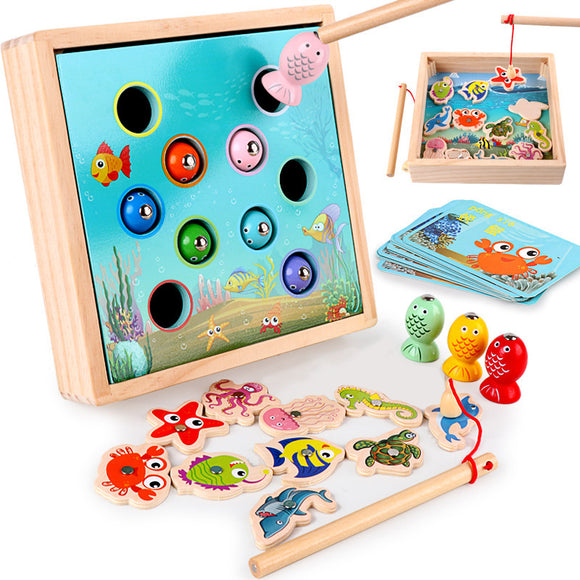 Wooden Magnetic Games Fishing Educational Toy Set