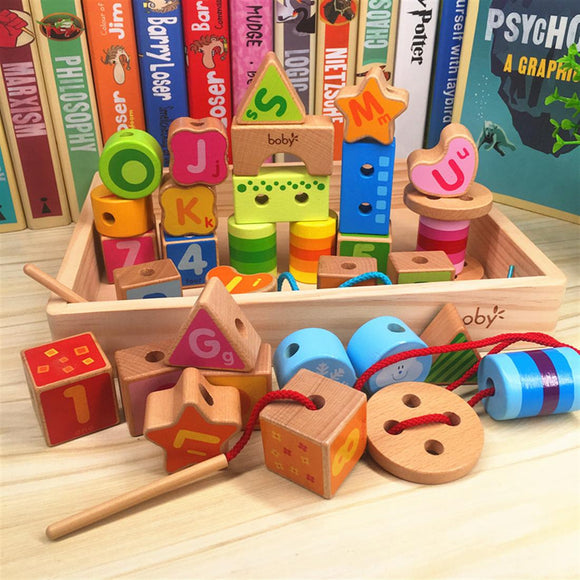 Wooden Bead Building Block Toy For Kids