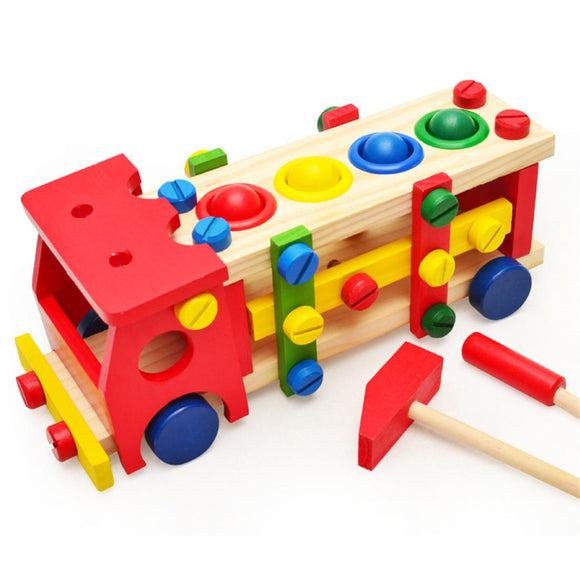 Wooden Knock The Ball Screw Bus Play Tool