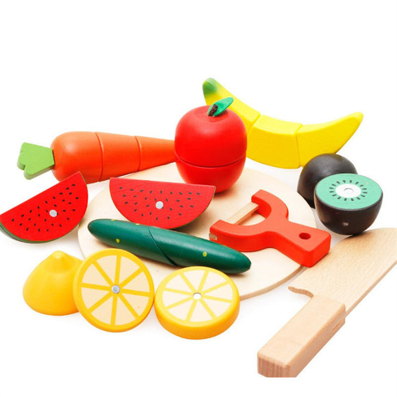 Wooden Pretend Play Fruit Cutting Toy For Kids