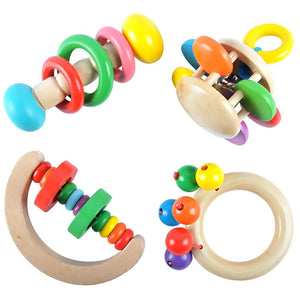Wooden Baby Hand Rattle Bell Toy