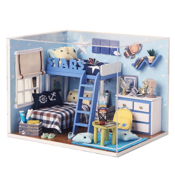 Wooden DIY Cabin Stars House Model Toy