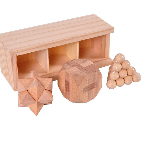 Wooden Hole Lock Puzzle Toy Set