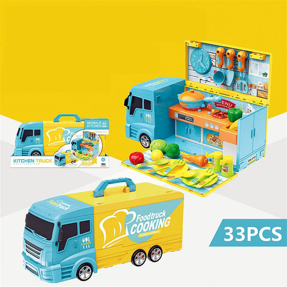 Pretend Play Kitchen Truck Toy Set