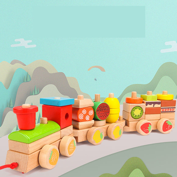 Wooden Building Block Train Toy