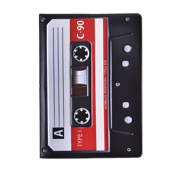 Audio Tape Pattern Passport Cover Holder