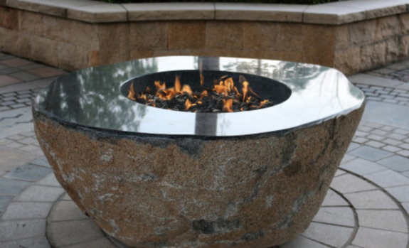 Large Granite Fire Pit Boulder