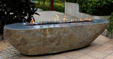 Long Granite Fire Pit Boulder