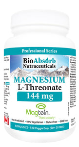 Magnesium L-Threonate - Magtein. 2,000 mg w/ 144 mg of Elemental Chelated Magnesium. 120 Veggie Capsules (40-day supply)