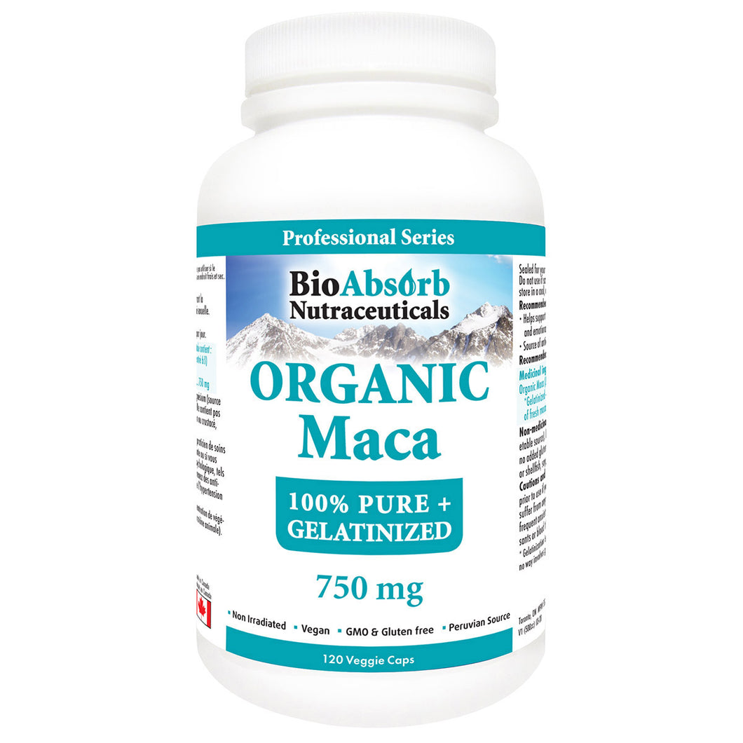 Organic Maca Root Powder for Men & Women. 120 Capsules, 60 Servings of 1500 mg. Gelatinized Black, Red, and Yellow Peruvian Maca Supplement.