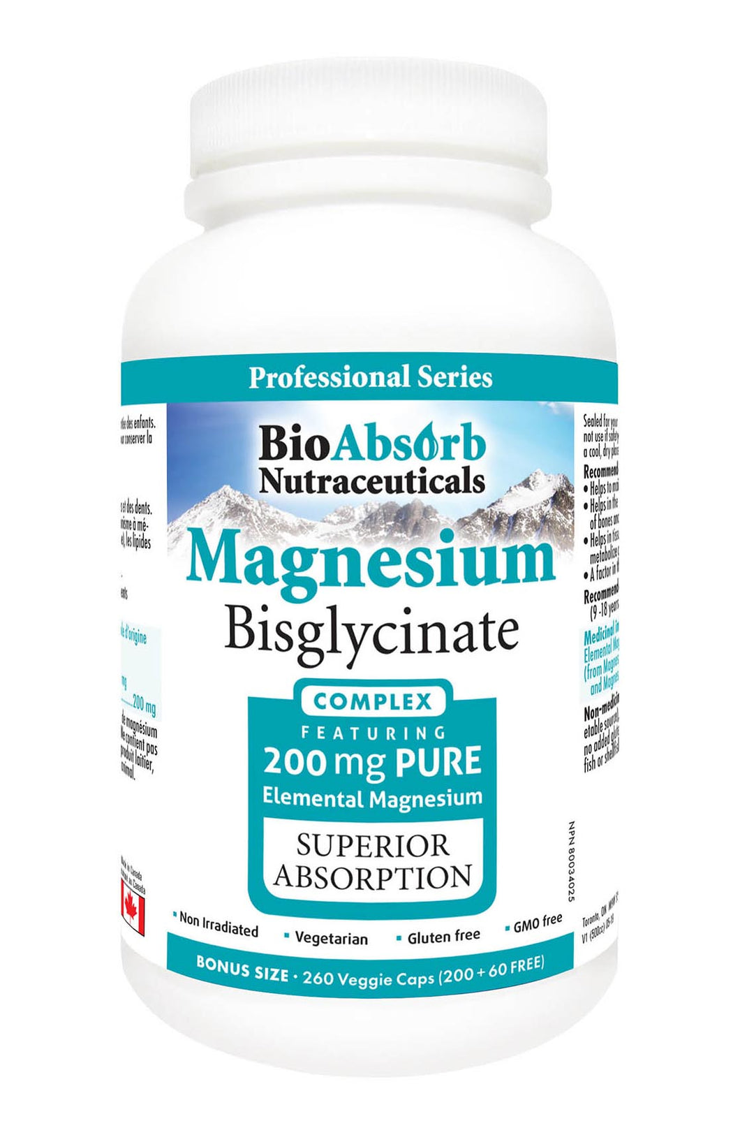 Magnesium Bisglycinate/Glycinate Supplement. 200mg of Chelated Elemental Magnesium. 260 Vegan Capsules (260-Day Supply)