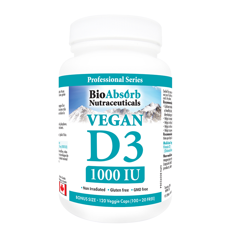 Vegan Vitamin D3 1000 IU, 4 Month Supply of Organic Vitamin D, 120 Vegetarian Capsules