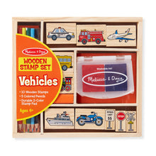 Load image into Gallery viewer, Melissa and Doug Vehicles Wooden Stamp Set