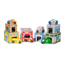 Load image into Gallery viewer, Melissa and Doug Nesting Sorting Building & Vehicles