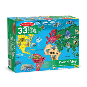 Melissa and Doug World Map Floor Puzzle 33pcs