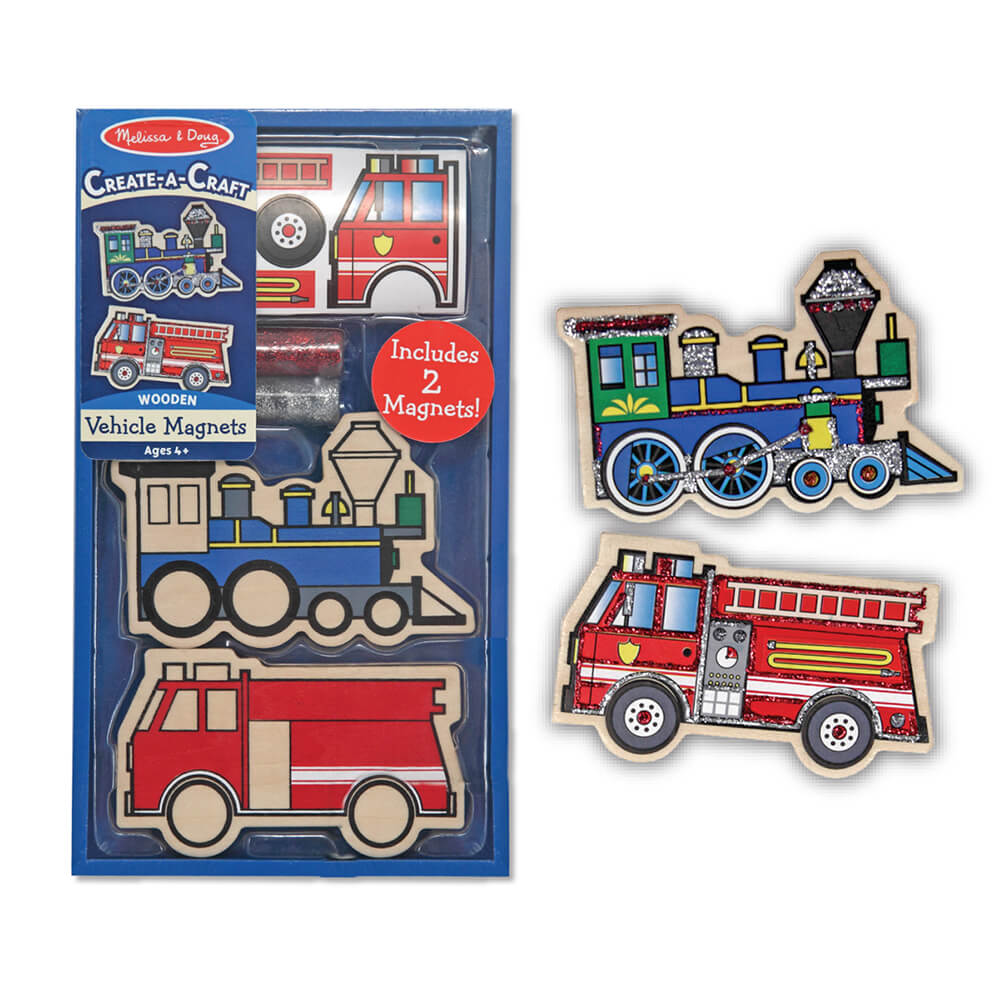 Melissa and Doug Wooden Vehicle Magnets DYO