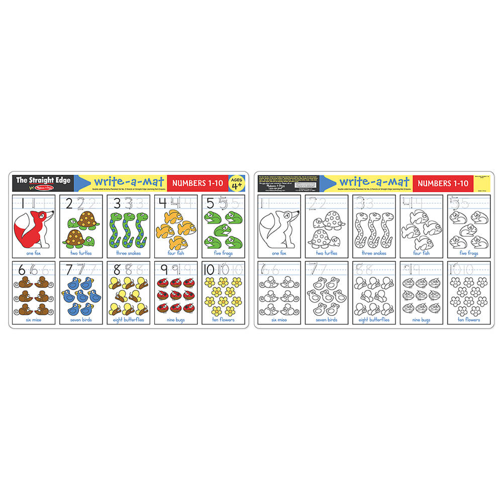 Melissa and Doug Numbers 1 - 10 Write-A-Mat 6pc pack
