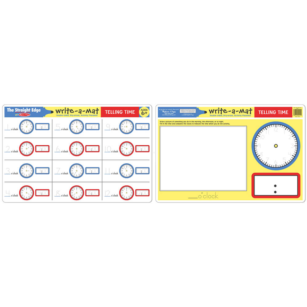 Melissa and Doug Telling Time Write-A-Mat 6pcs