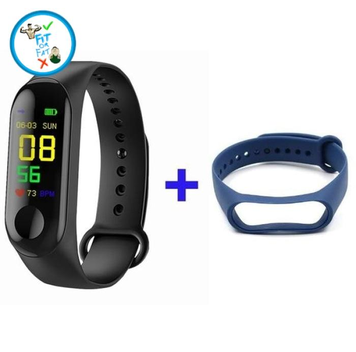 Fitness Tracker Black Blue Accessories
