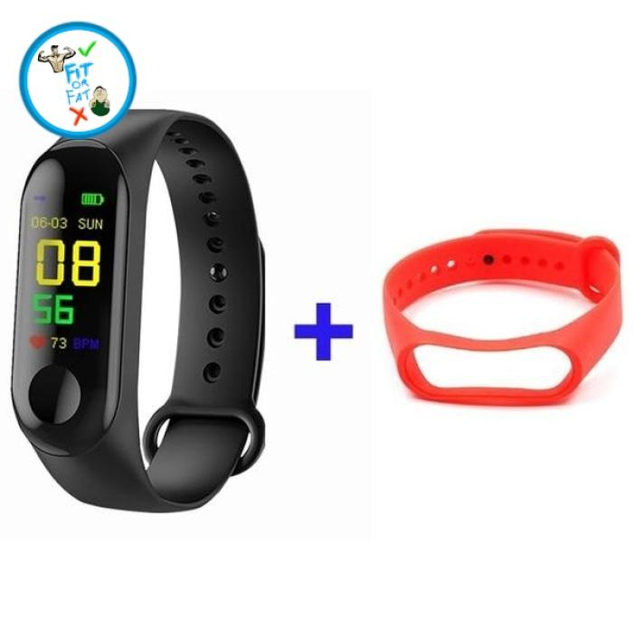 Fitness Tracker Black Red Accessories