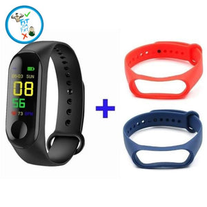 Fitness Tracker Black Red Blue Accessories